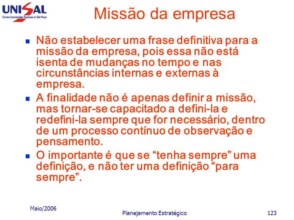 Maio/2006 Planejamento Estratégico122 Missão da empresa não procurar definições curtas e objetivas em excesso, pois esse aspecto pode prejudicar sua c