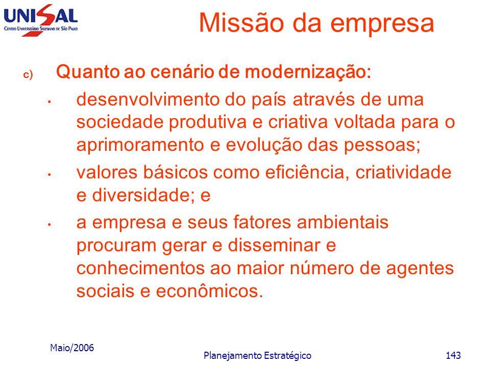 Maio/2006 Planejamento Estratégico142 Missão da empresa b) Quanto ao cenário de crescimento econômico: desenvolvimento do país através do rápido cresc