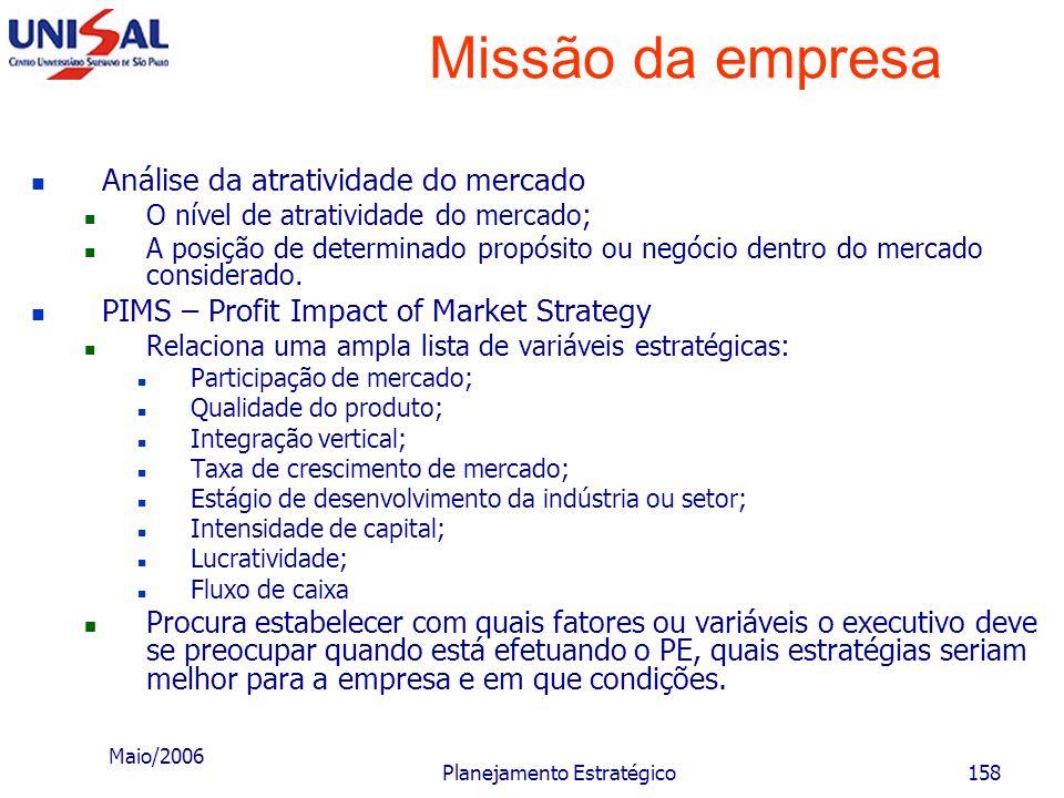 Maio/2006 Planejamento Estratégico157 Missão da empresa Unidade estratégica de negócios Cada área ou produto ou segmento deve ser considerado como um