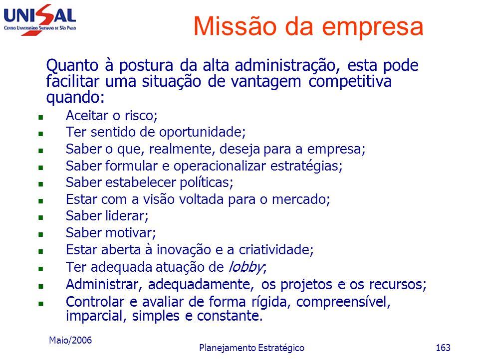 Maio/2006 Planejamento Estratégico162 Missão da empresa A situação geral da empresa pode proporcionar vantagem competitiva quando, entre outros aspect