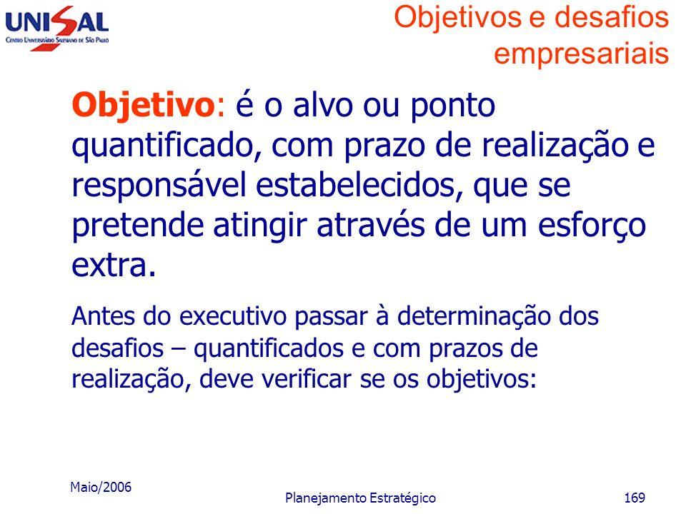 Maio/2006 Planejamento Estratégico168 Objetivos e desafios empresariais Objetivo: é o alvo ou ponto que se pretende atingir. Desafio: é a quantificaçã