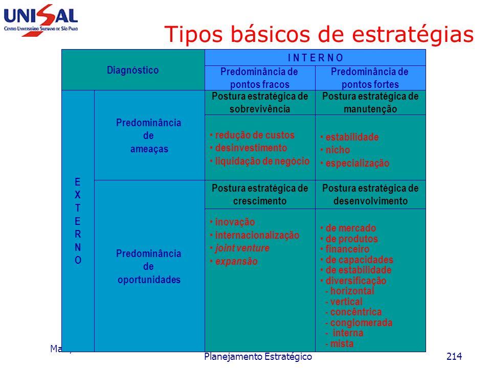 Maio/2006 Planejamento Estratégico213 Estratégias empresariais Dispositivos: Técnicos-econômicos os quais são empregados na transformação dos insumos