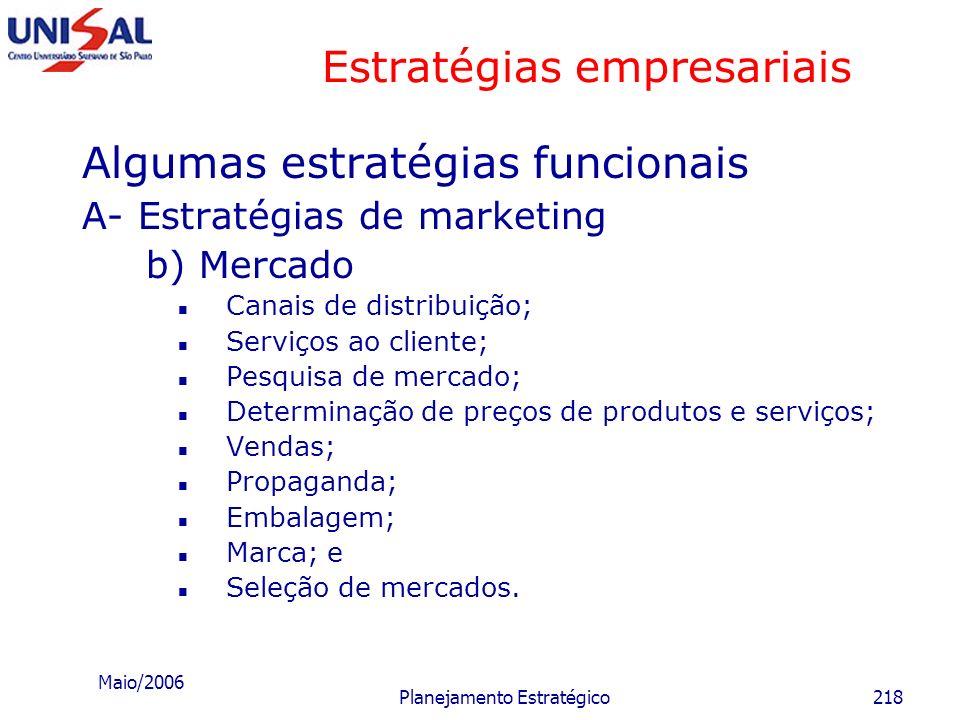 Maio/2006 Planejamento Estratégico217 Estratégias empresariais Algumas estratégias funcionais A- Estratégias de marketing a) Produtos e serviços Natur