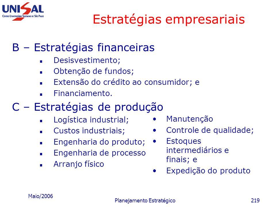 Maio/2006 Planejamento Estratégico218 Estratégias empresariais Algumas estratégias funcionais A- Estratégias de marketing b) Mercado Canais de distrib