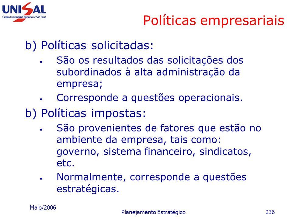 Maio/2006 Planejamento Estratégico235 Políticas empresariais Tipos de políticas a) Políticas estabelecidas: São provenientes dos objetivos e desafios