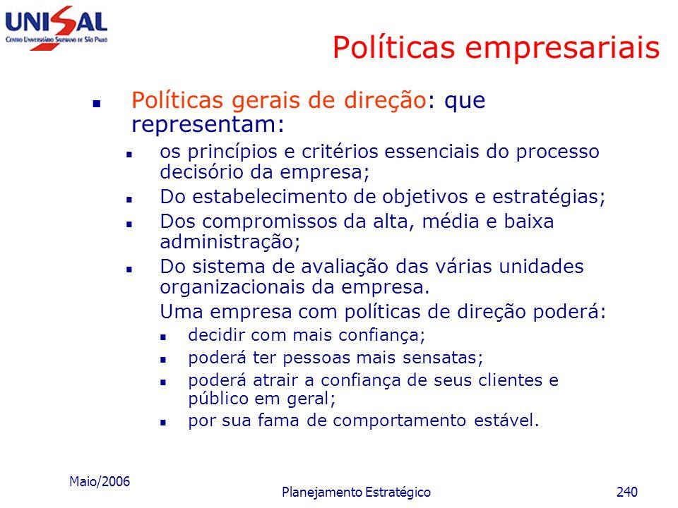 Maio/2006 Planejamento Estratégico239 Políticas empresariais Exemplos: Nossa prioridade é encurtar o tempo entre o fato e sua transformação em notícia