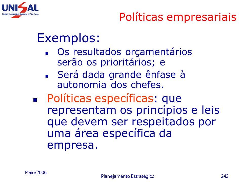 Maio/2006 Planejamento Estratégico242 Políticas empresariais Políticas gerais de gestão: que correspondem ao delineamento de um estilo administrativo