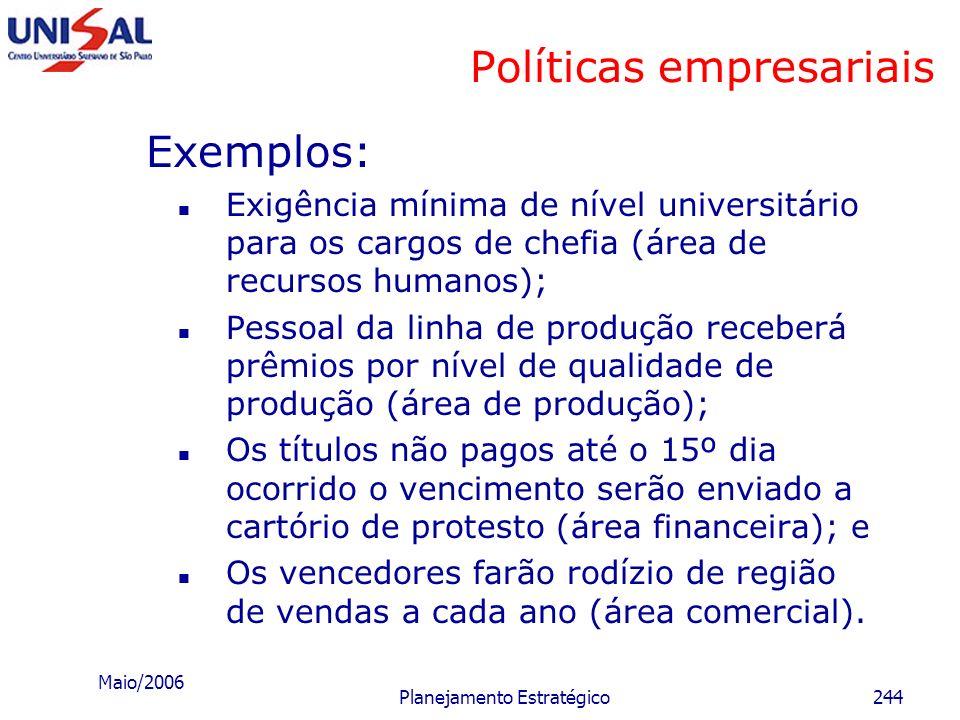 Maio/2006 Planejamento Estratégico243 Políticas empresariais Exemplos: Os resultados orçamentários serão os prioritários; e Será dada grande ênfase à