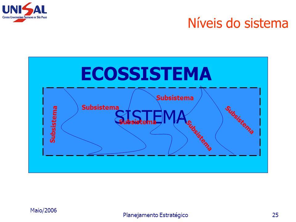 Maio/2006 Planejamento Estratégico24 Empresa como sistema O ambiente é também chamado: meio ambiente; meio externo; meio; entorno. O executivo deve co
