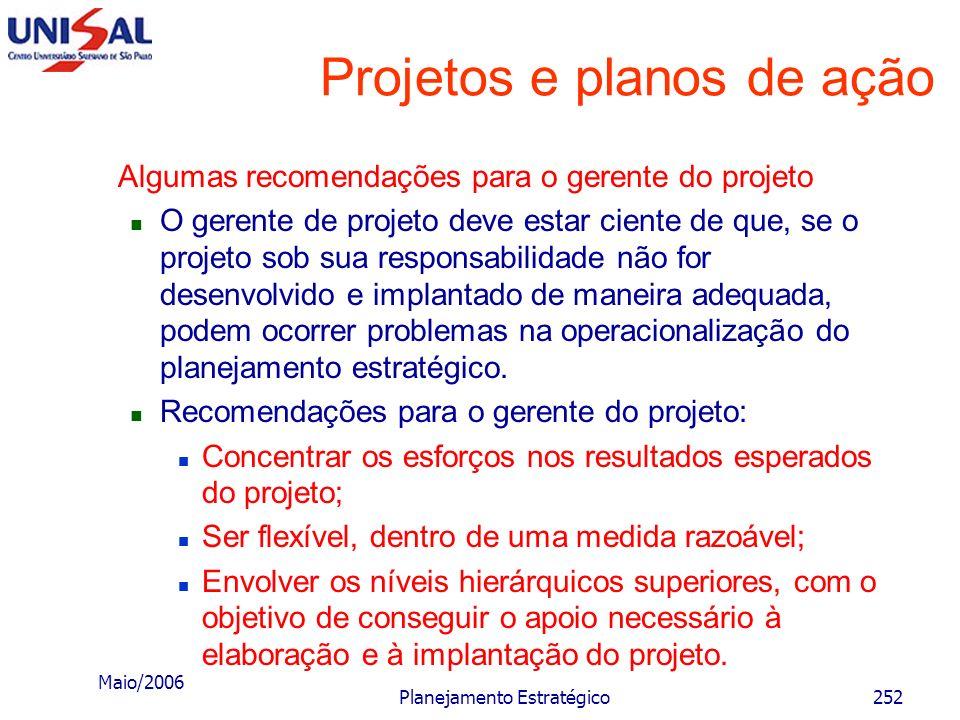 Maio/2006 Planejamento Estratégico251 Projetos e planos de ação Ao final da fase de caracterização, vem a fase de execução, cujos os aspectos básicos