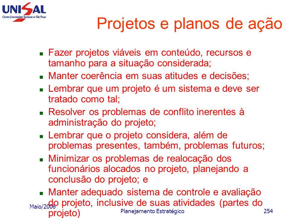 Maio/2006 Planejamento Estratégico253 Projetos e planos de ação Ter adequado e realista sistema de informações; Manter contatos diretos com as pessoas