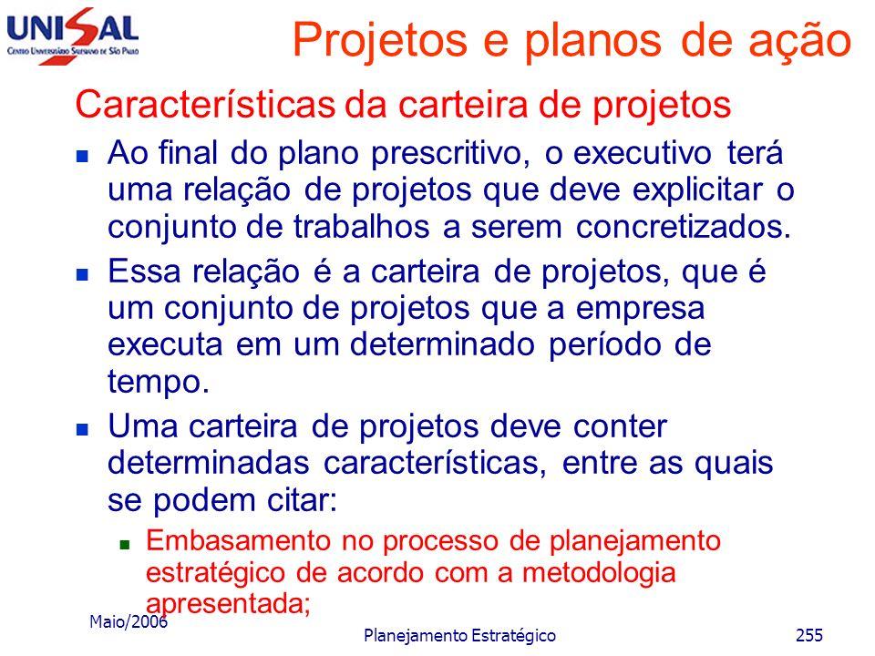 Maio/2006 Planejamento Estratégico254 Projetos e planos de ação Fazer projetos viáveis em conteúdo, recursos e tamanho para a situação considerada; Ma