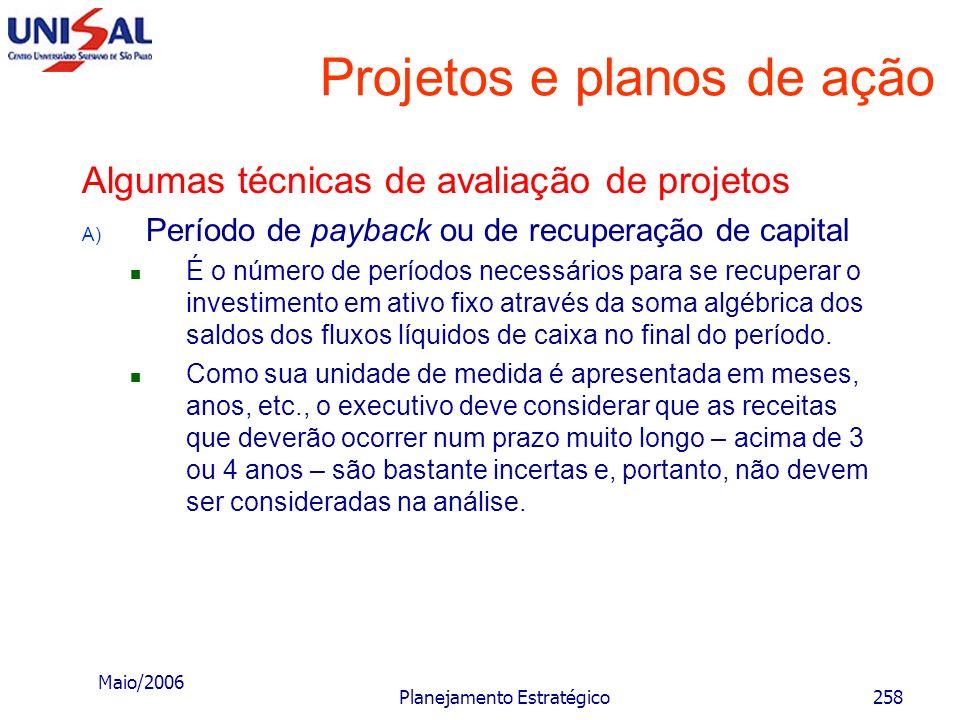Maio/2006 Planejamento Estratégico257 Projetos e planos de ação Características do sucesso de um projeto Quando se examina os aspectos que indicam o s