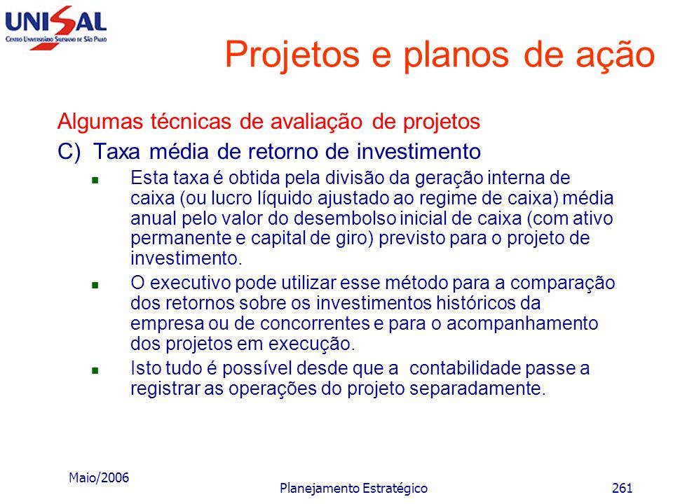 Maio/2006 Planejamento Estratégico260 Projetos e planos de ação Algumas técnicas de avaliação de projetos B) Taxa interna de retorno É a taxa de juros