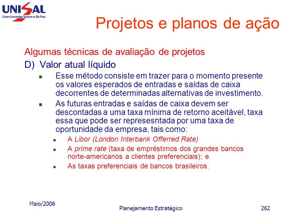 Maio/2006 Planejamento Estratégico261 Projetos e planos de ação Algumas técnicas de avaliação de projetos C) Taxa média de retorno de investimento Est