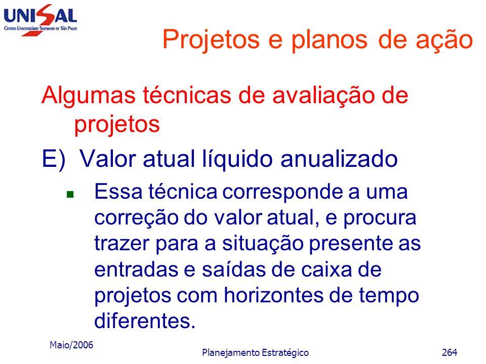 Maio/2006 Planejamento Estratégico263 Projetos e planos de ação Algumas técnicas de avaliação de projetos D) Valor atual líquido O cerne dessa técnica