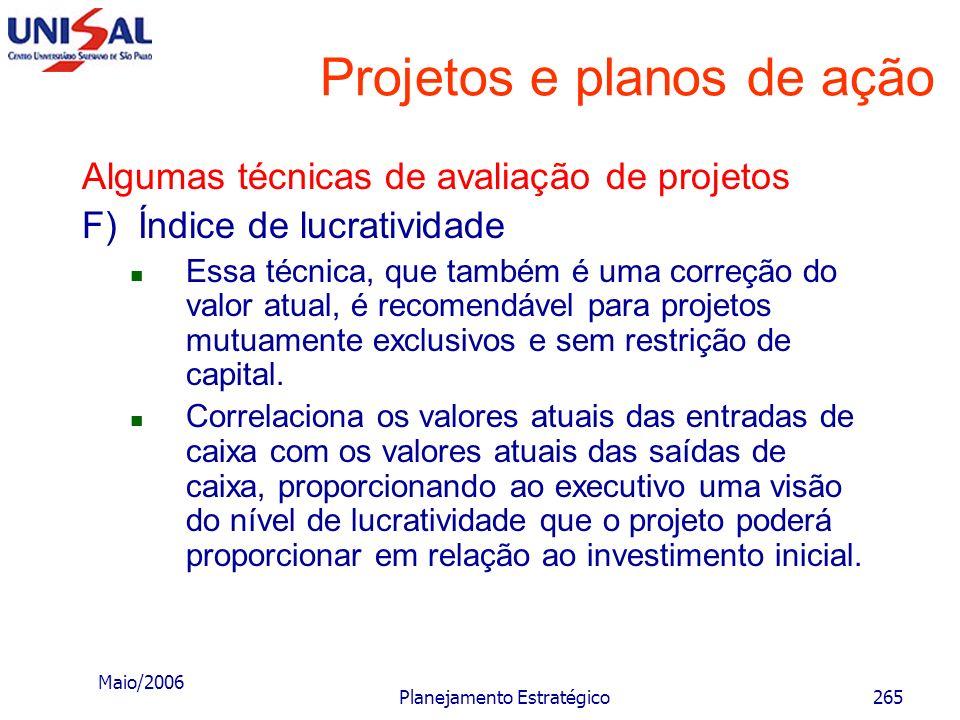 Maio/2006 Planejamento Estratégico264 Projetos e planos de ação Algumas técnicas de avaliação de projetos E) Valor atual líquido anualizado Essa técni