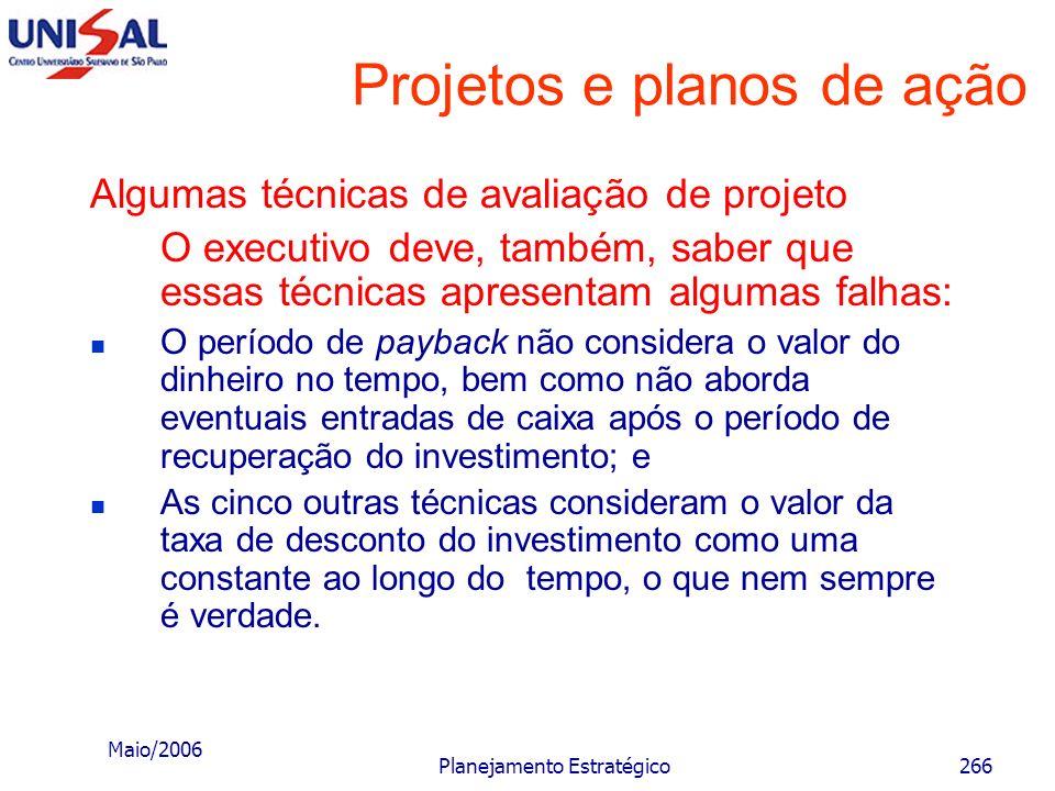 Maio/2006 Planejamento Estratégico265 Projetos e planos de ação Algumas técnicas de avaliação de projetos F) Índice de lucratividade Essa técnica, que