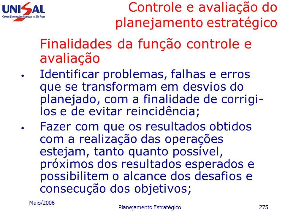 Maio/2006 Planejamento Estratégico274 Conceituação geral da função controle e avaliação Início do processo de avaliação e controle Padrões estabelecid