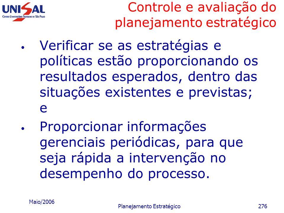 Maio/2006 Planejamento Estratégico275 Controle e avaliação do planejamento estratégico Finalidades da função controle e avaliação Identificar problema