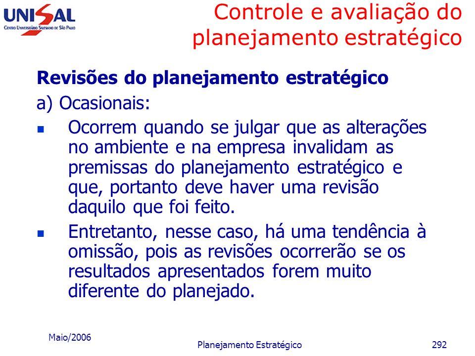 Maio/2006 Planejamento Estratégico291 Controle e avaliação do planejamento estratégico d) Horizonte de tempo – considerar basicamente: Impactos recebi