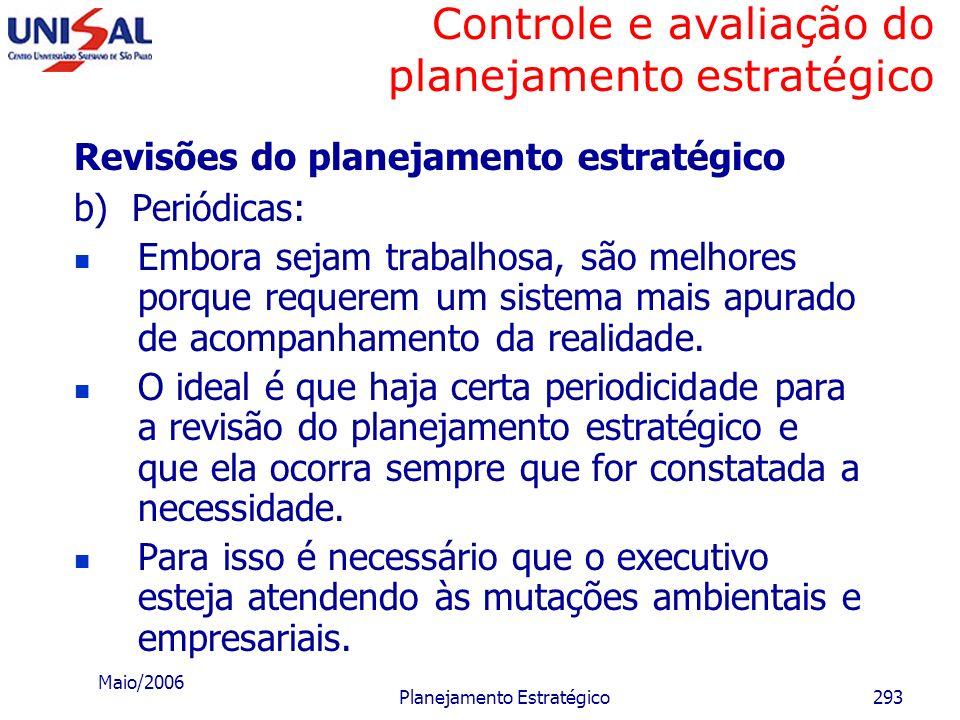 Maio/2006 Planejamento Estratégico292 Controle e avaliação do planejamento estratégico Revisões do planejamento estratégico a) Ocasionais: Ocorrem qua