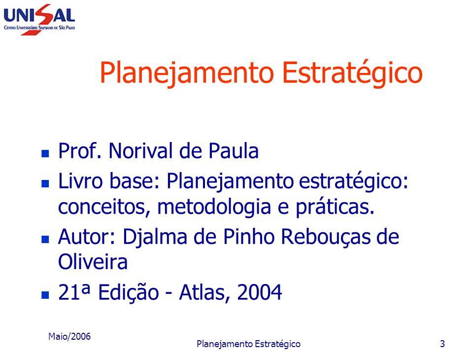 Maio/2006 Planejamento Estratégico2 Solicitações Chegar no horário; Evitar saída da sala durante a aula; Desligar o celular ou colocá-lo no modo silen