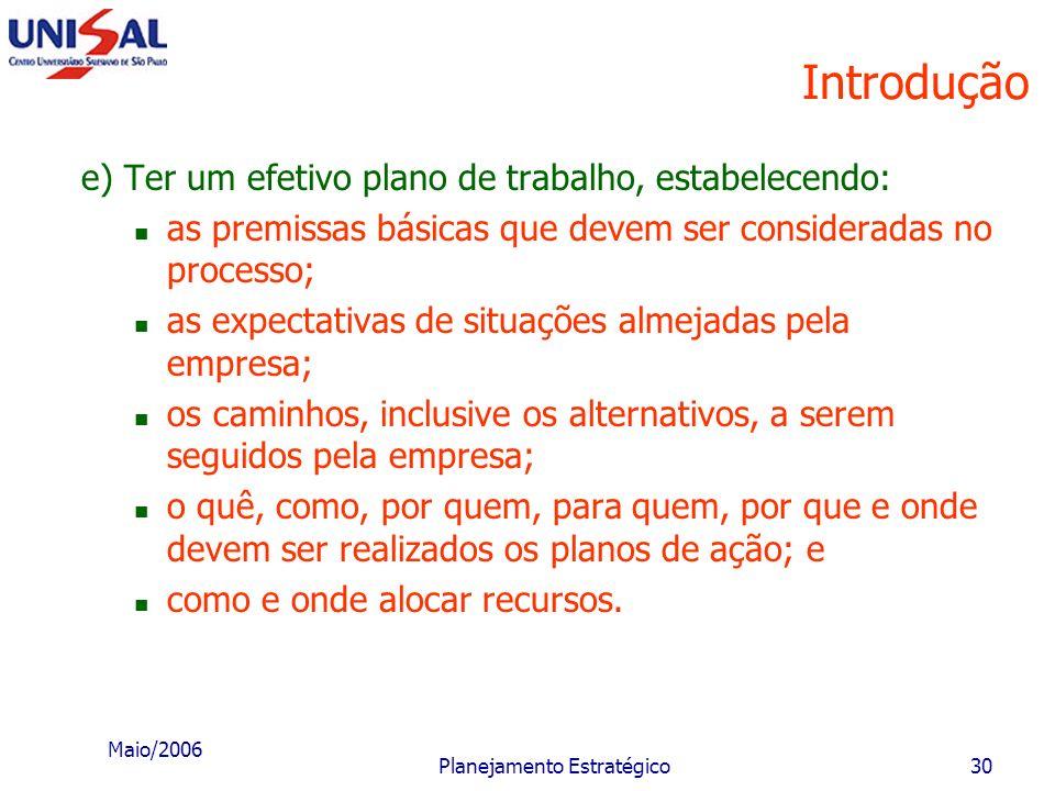 Maio/2006 Planejamento Estratégico29 Introdução c) Conhecer e usufruir as oportunidades externas. Oportunidade é a força ambiental incontrolável pela