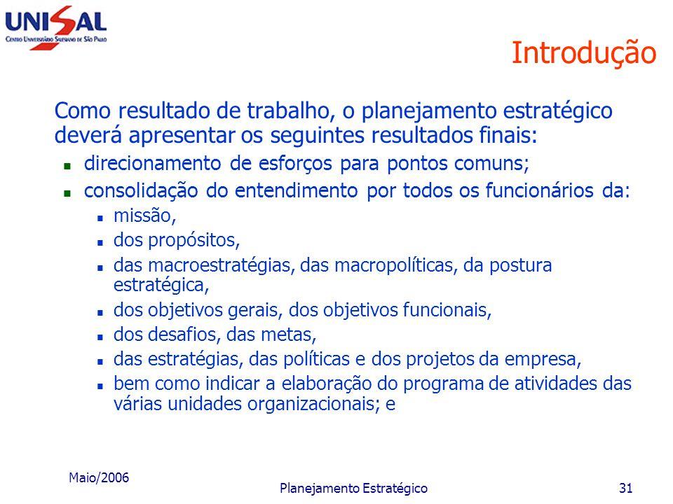 Maio/2006 Planejamento Estratégico30 Introdução e) Ter um efetivo plano de trabalho, estabelecendo: as premissas básicas que devem ser consideradas no