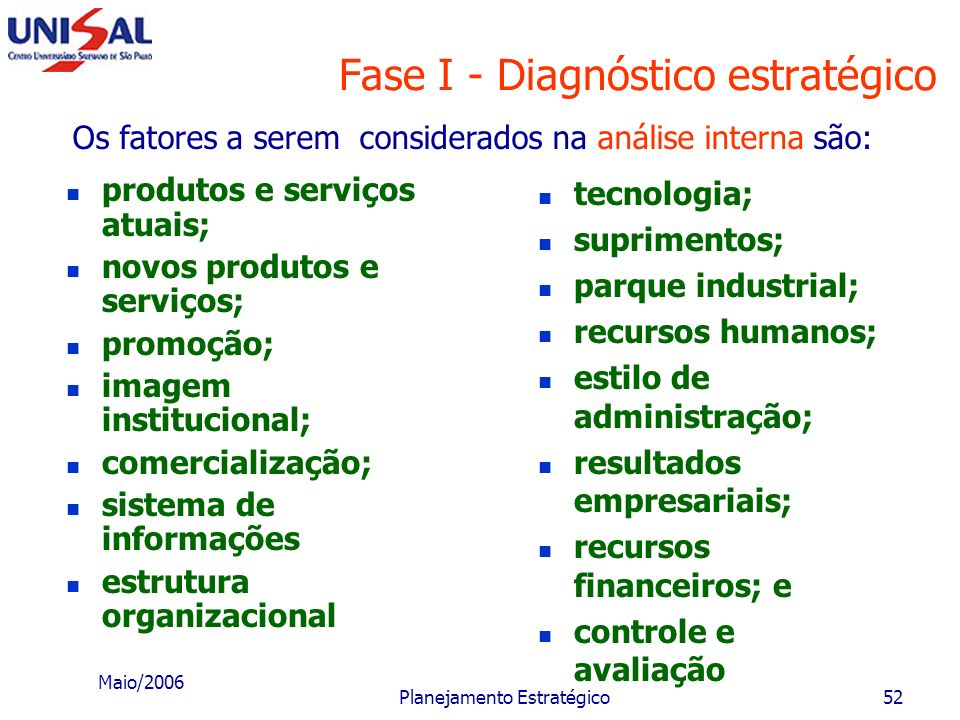 Maio/2006 Planejamento Estratégico51 Fase I - Diagnóstico estratégico Pontos fortes É fundamental para o sucesso da estratégia que a área de atuação d