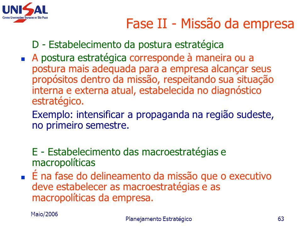 Maio/2006 Planejamento Estratégico62 Fase II - Missão da empresa D - Estabelecimento da postura estratégica A postura estratégica da empresa é maneira