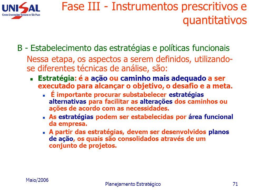 Maio/2006 Planejamento Estratégico70 Fase III - Instrumentos prescritivos e quantitativos Objetivo funcional: é o objetivo intermediário, relacionado