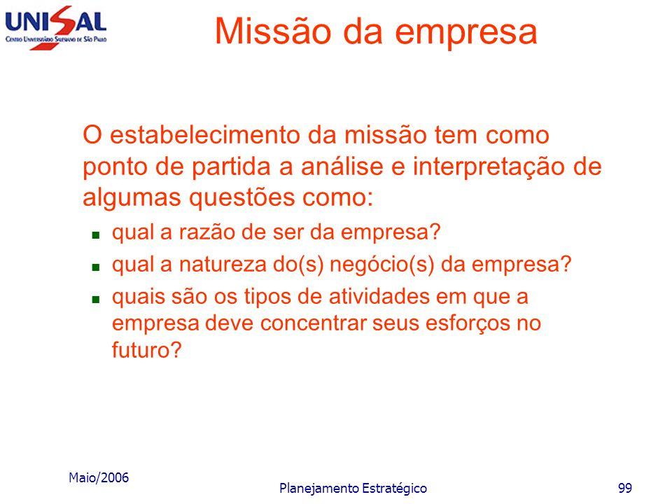Maio/2006 Planejamento Estratégico98 Missão da empresa Nesta fase do processo de elaboração e implementação do planejamento estratégico é de elevada c