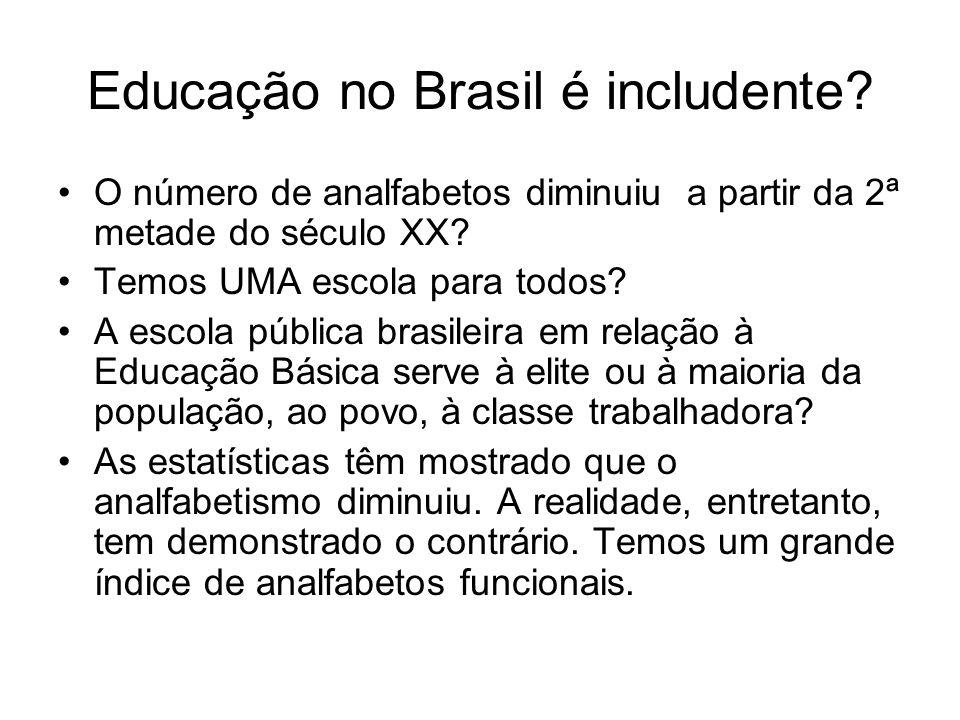 Educação no Brasil é includente? O número de analfabetos diminuiu a partir da 2ª metade do século XX? Temos UMA escola para todos? A escola pública br