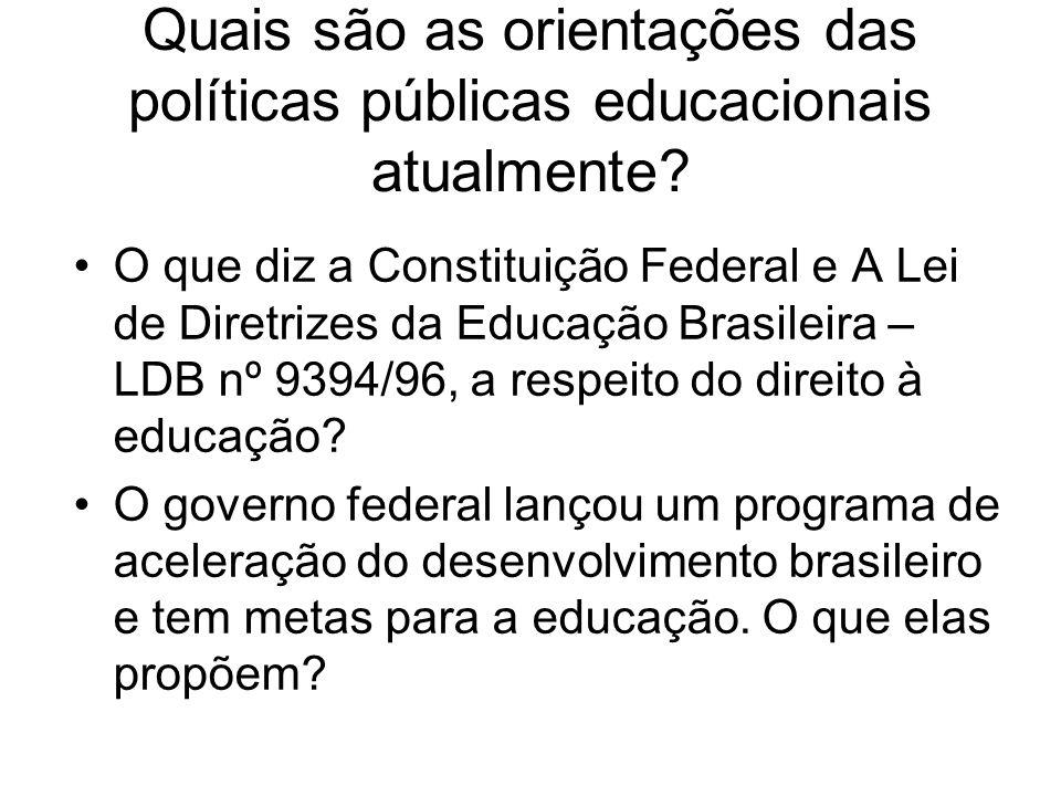 Quais são as orientações das políticas públicas educacionais atualmente? O que diz a Constituição Federal e A Lei de Diretrizes da Educação Brasileira