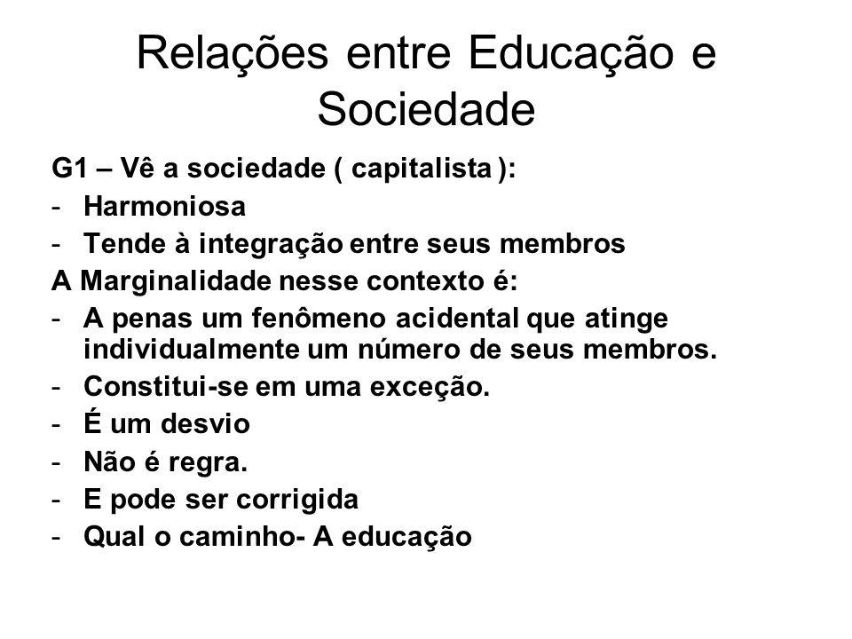 Relações entre Educação e Sociedade G1 – Vê a sociedade ( capitalista ): -Harmoniosa -Tende à integração entre seus membros A Marginalidade nesse cont