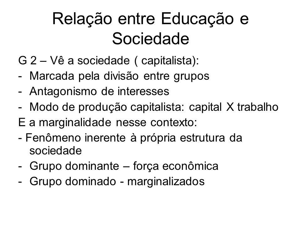 Relação entre Educação e Sociedade G 2 – Vê a sociedade ( capitalista): -Marcada pela divisão entre grupos -Antagonismo de interesses -Modo de produção capitalista: capital X trabalho E a marginalidade nesse contexto: - Fenômeno inerente à própria estrutura da sociedade -Grupo dominante – força econômica -Grupo dominado - marginalizados