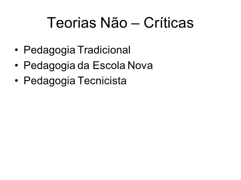 Teorias Não – Críticas Pedagogia Tradicional Pedagogia da Escola Nova Pedagogia Tecnicista