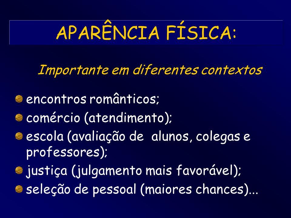 APARÊNCIA FÍSICA: encontros românticos; comércio (atendimento); escola (avaliação de alunos, colegas e professores); justiça (julgamento mais favoráve
