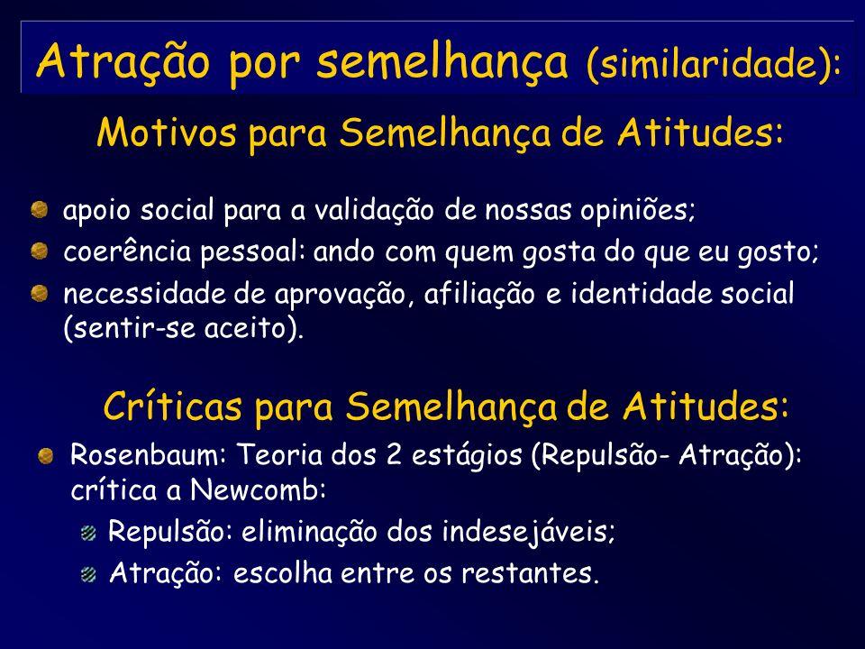 Atração por semelhança (similaridade): apoio social para a validação de nossas opiniões; coerência pessoal: ando com quem gosta do que eu gosto; neces