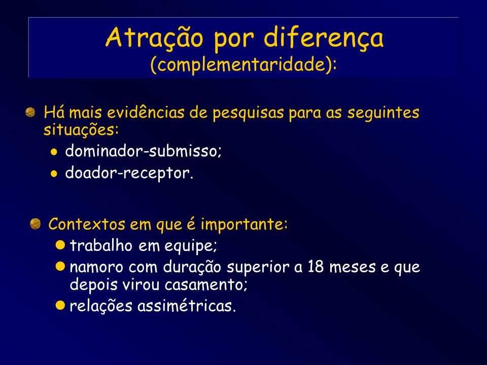 Atração por diferença (complementaridade): Há mais evidências de pesquisas para as seguintes situações: dominador-submisso; doador-receptor. Contextos