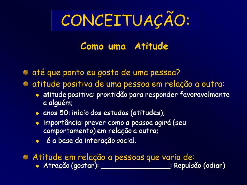 CONCEITUAÇÃO: até que ponto eu gosto de uma pessoa? atitude positiva de uma pessoa em relação a outra: at itude positiva: prontidão para responder fav
