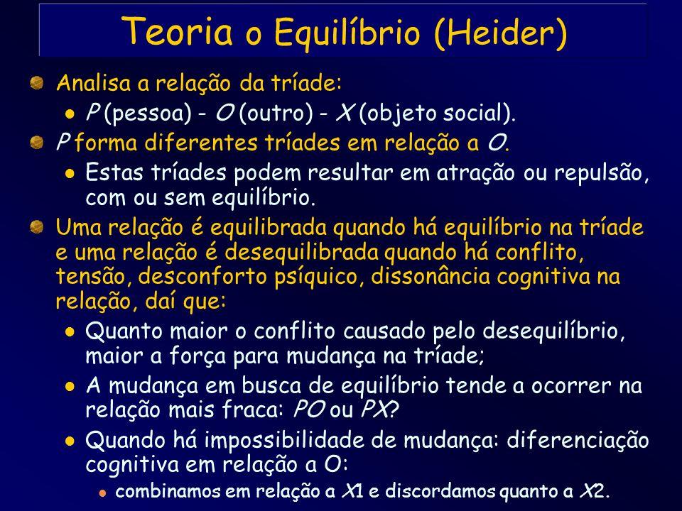 Analisa a relação da tríade: P (pessoa) - O (outro) - X (objeto social). P forma diferentes tríades em relação a O. Estas tríades podem resultar em at