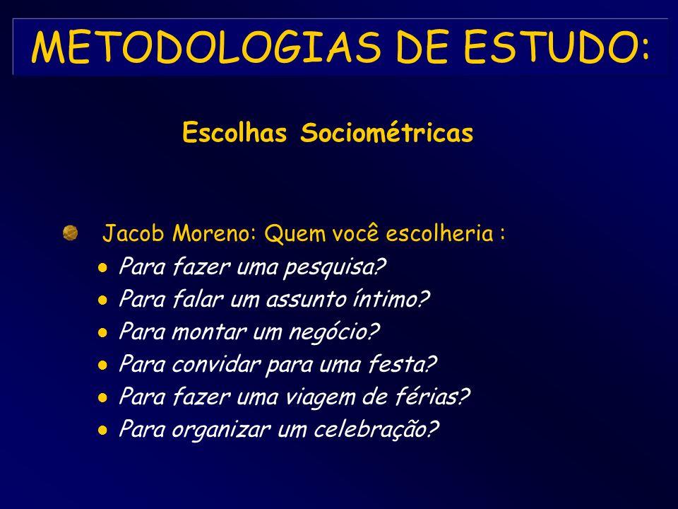 METODOLOGIAS DE ESTUDO: Jacob Moreno: Quem você escolheria : Para fazer uma pesquisa? Para falar um assunto íntimo? Para montar um negócio? Para convi
