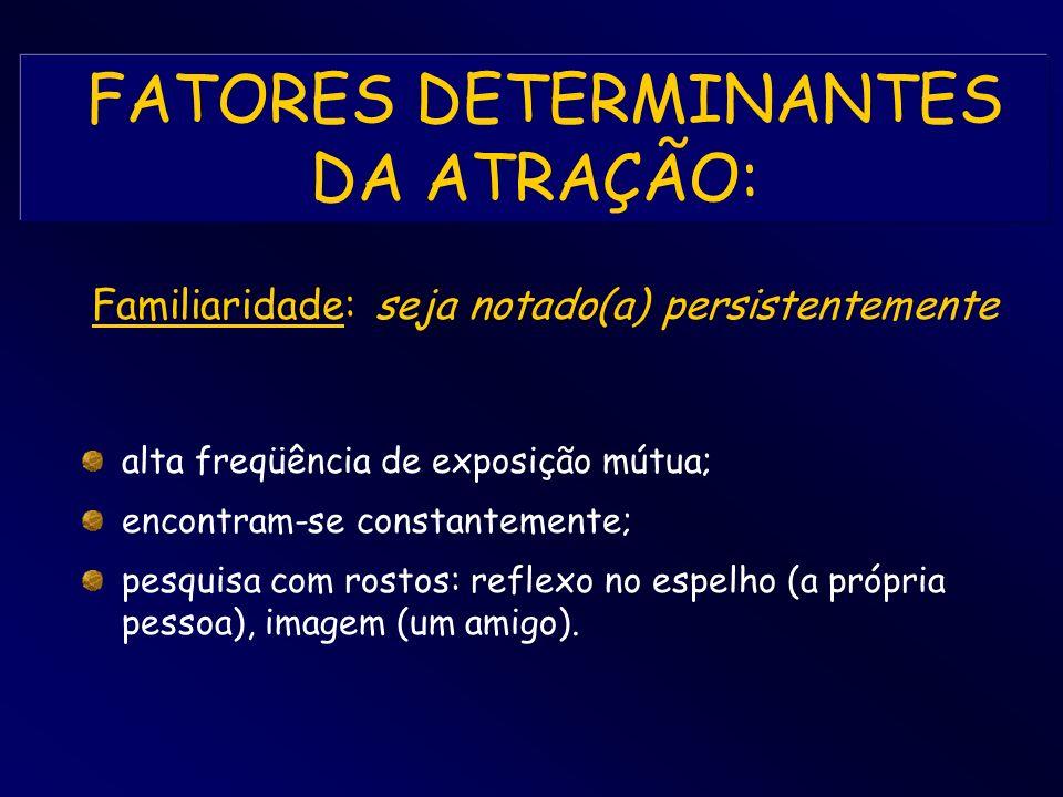 FATORES DETERMINANTES DA ATRAÇÃO: sem mais informações disponíveis (personalidade, valores, atitudes, etc...), é aquilo que se vê; é algo não democrático e socialmente injusto, pois temos pouco controle; características físicas: rosto (olhos, sorriso, cabelos), mãos, pernas, peito e bum-bum; Gestalt: leis individuais determinam uma configuração que integra todas essas características; Aparência Física: seja belo(a)