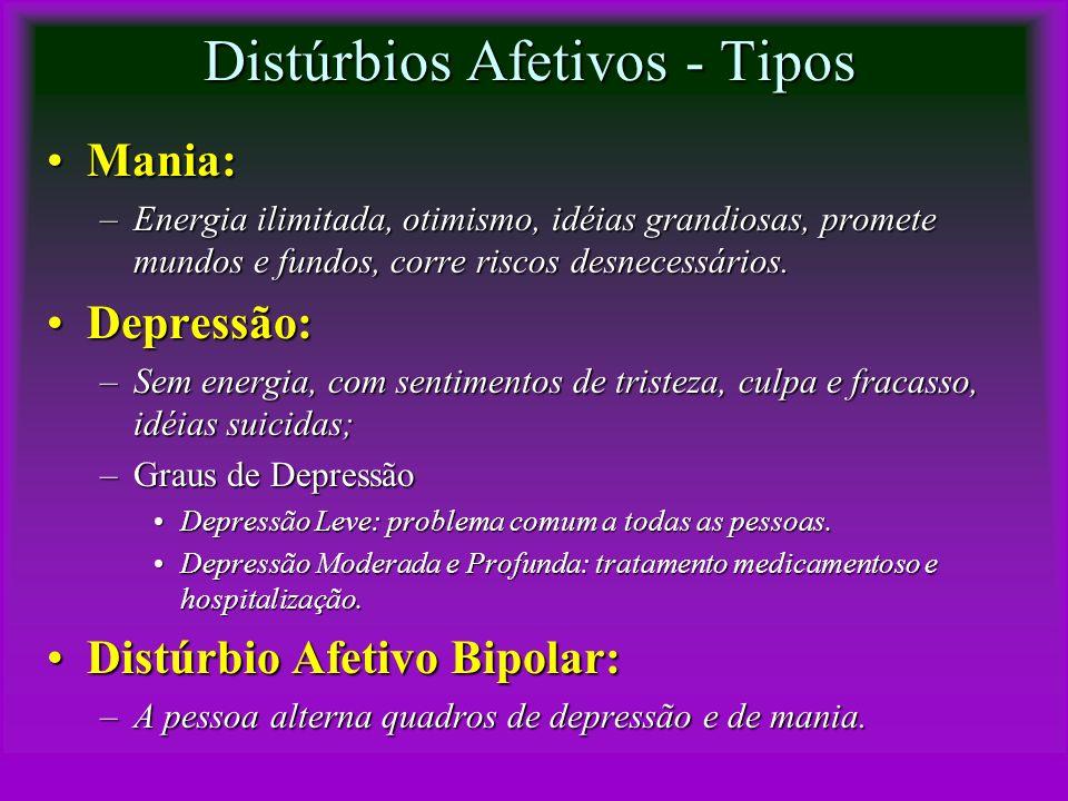 Distúrbios Afetivos - Tipos Mania:Mania: –Energia ilimitada, otimismo, idéias grandiosas, promete mundos e fundos, corre riscos desnecessários. Depres