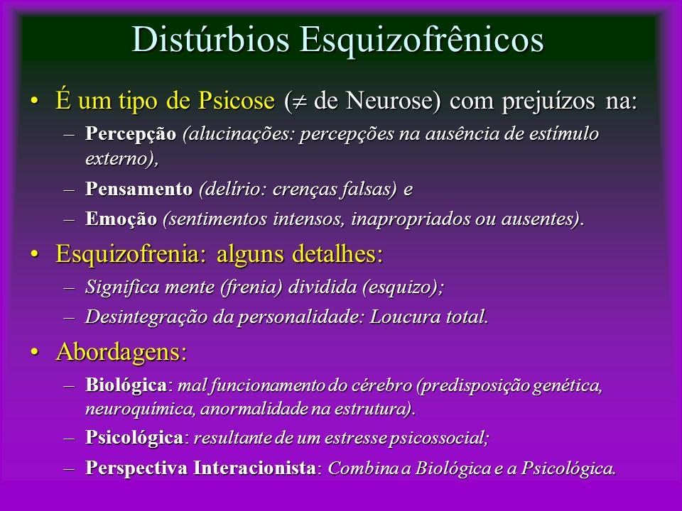 Distúrbios Esquizofrênicos É um tipo de Psicose ( de Neurose) com prejuízos na:É um tipo de Psicose ( de Neurose) com prejuízos na: –Percepção (alucin