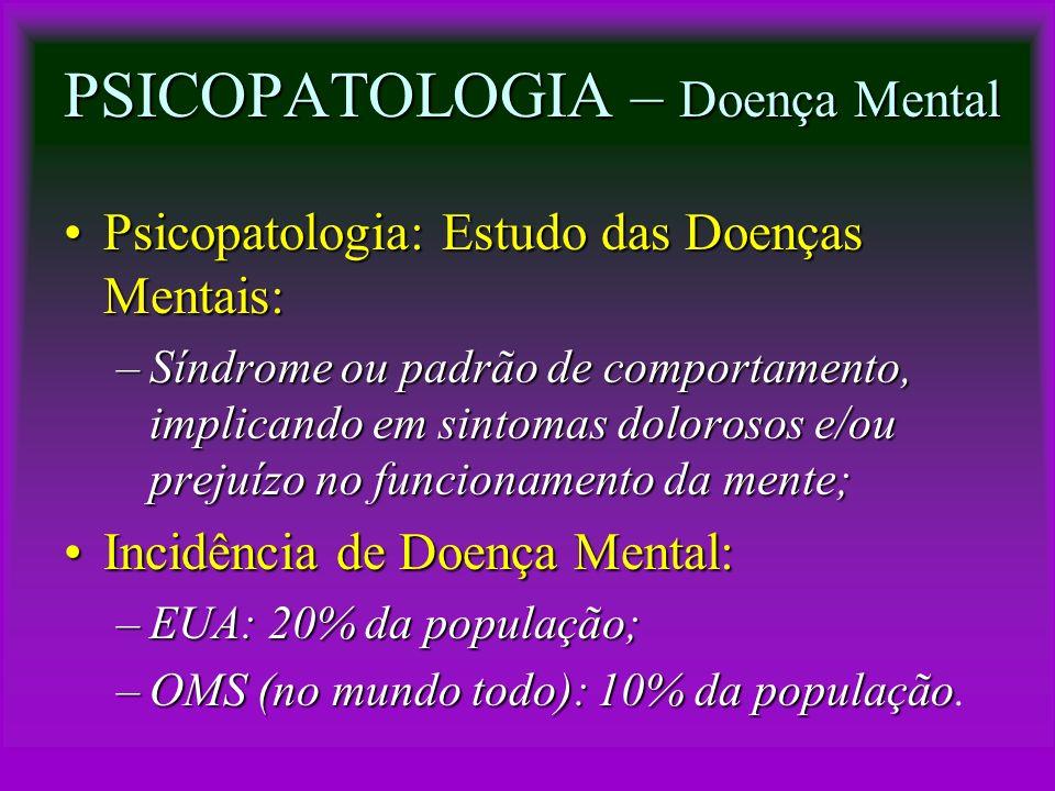 PSICOPATOLOGIA – Doença Mental Psicopatologia: Estudo das Doenças Mentais:Psicopatologia: Estudo das Doenças Mentais: –Síndrome ou padrão de comportam