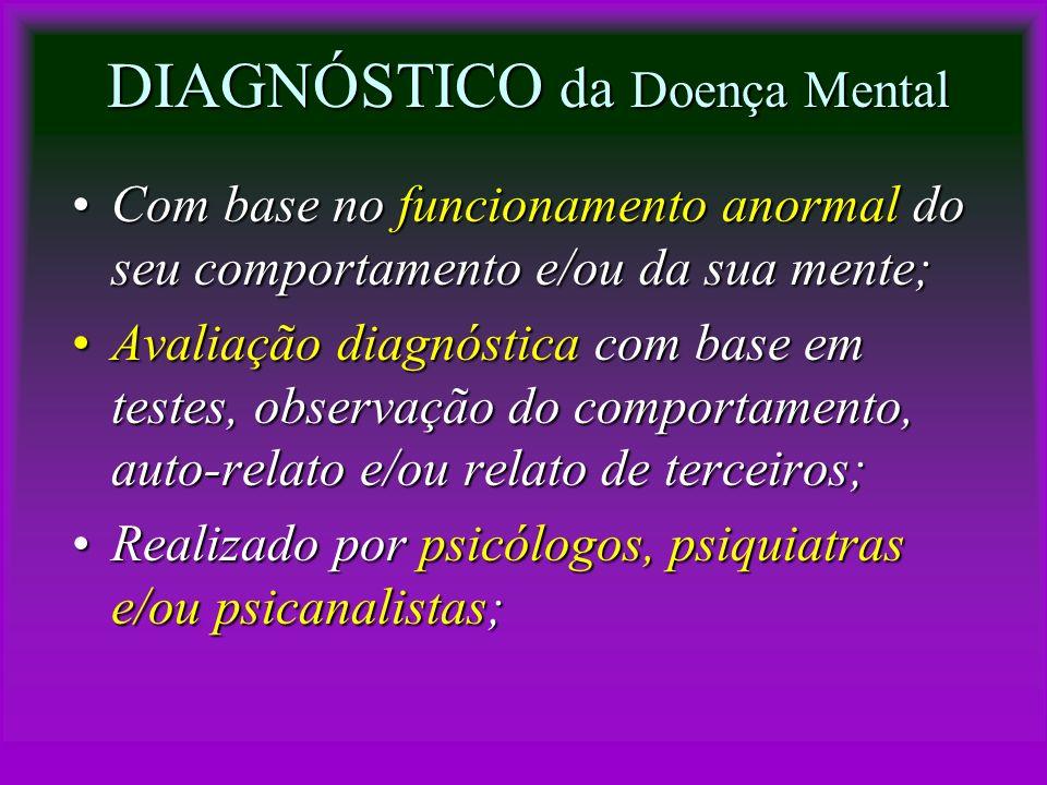 DIAGNÓSTICO da Doença Mental Com base no funcionamento anormal do seu comportamento e/ou da sua mente;Com base no funcionamento anormal do seu comport