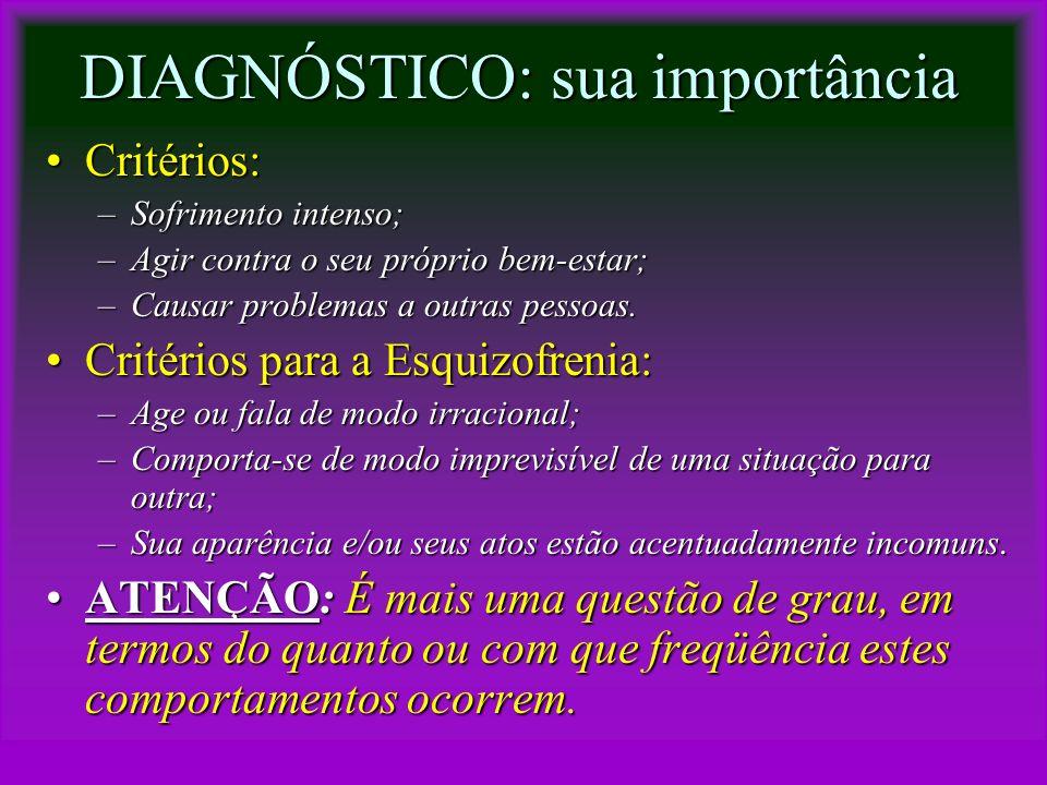 DIAGNÓSTICO: sua importância Critérios:Critérios: –Sofrimento intenso; –Agir contra o seu próprio bem-estar; –Causar problemas a outras pessoas. Crité